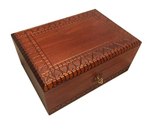 MilmaArtGift Heart Design Large Wooden Box with Lock and Key Polish Handmade Linden Wood Hearts Keepsake Jewelry Box Love Letters Box