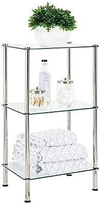 mDesign Moderna estantería de baño – Organizador de baño de Cristal con Tres baldas – Elegante estantería de Ducha para Guardar Toallas, cremas y cosméticos – Transparente y Plateado: Amazon.es: Hogar