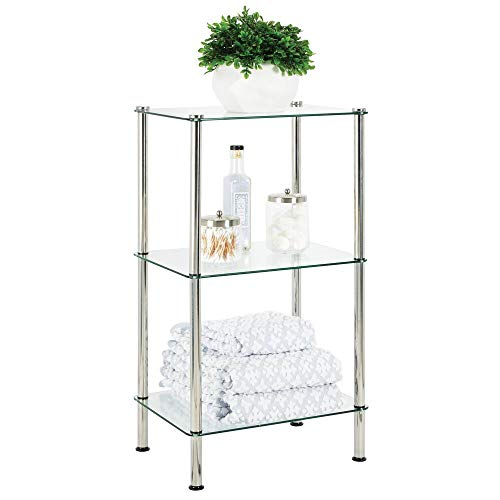 (mDesign Bathroom Floor Storage Rectangular Tower, 3 Tier Open Glass Shelves - Compact Shelving Display Unit - Multi-Use Home Organizer for Bath, Office, Bedroom, Living Room - Clear/Chrome Metal)