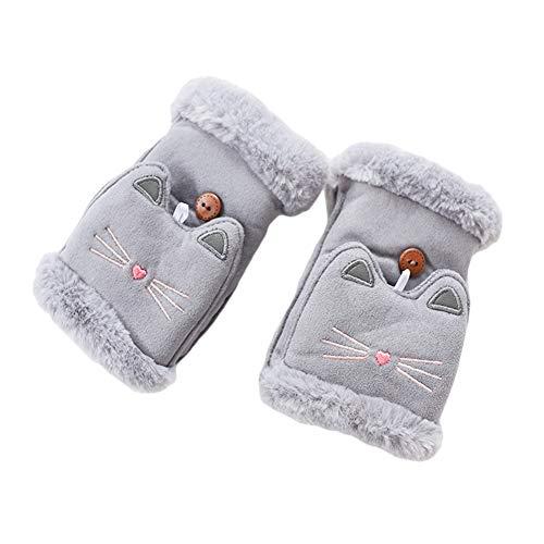 BAOBAO Women's Plush Flip Top Gloves Cute Cartoon Cat Fingerless Warm Thick Mittens