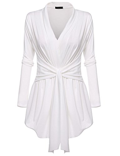 Belted Wrap Sweater - Bifast Womens Lightweight 3/4 Sleeve Striped V Neck Belted Cute Cardigan White S