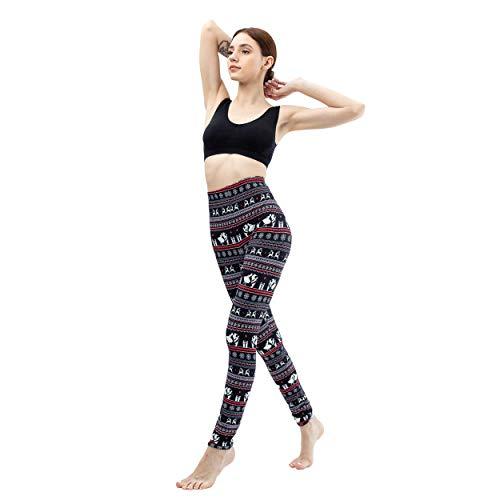 Yiwbeij Deer Snowflakes Print Leggings Women - Mid Waist Jogging Leggings Pants for ()