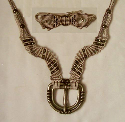 Beige and Tan Macrame Statement Necklace, Bracelet Set with Steel Buckle, Bronze - Buckle Knotted