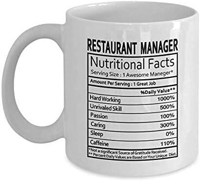 Regalos para el gerente del restaurante Etiqueta de información nutricional del gerente del restaurante Regalos para mordaza del gerente del restaurante - Regalos Taza de café Taza de té Blanco - Rega