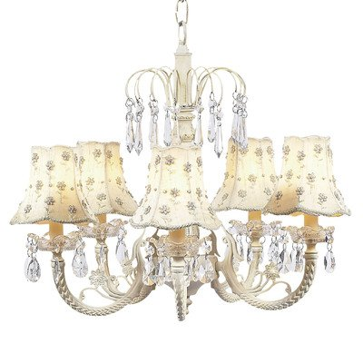 - Jubilee Collection 7041-2002 5 Arm Water Fall Chandelier with Skirt Dangle Shade, Ivory