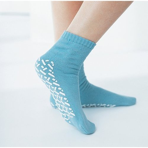 Medline Blue Adult Soft Knit Gripper Slippers - 3 Pair - 1 Size Fits Most