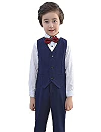 Liveinu Boy Formal Party Wedding Tuxedo Waistcoat Outfit Suit Blue