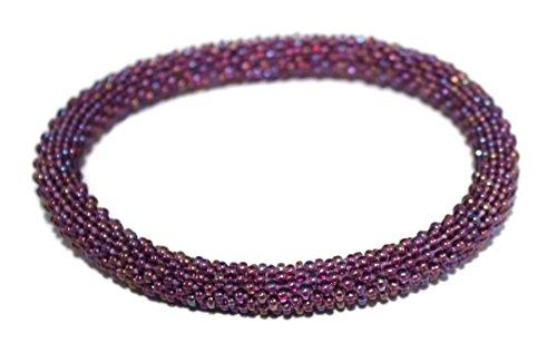Crochet Glass Seed Bead Bracelet Roll on Bracelet Nepal Bracelet Boho Bracelet