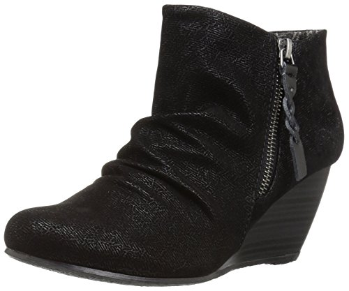 Blowfish Women's Breaks Ankle Bootie, Black Embossed Fawn Polyurethane, 10 M (Black Polyurethane Ankle Boot)