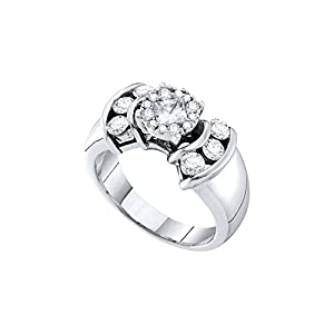 14kt White Gold Womens Princess Diamond Soleil Cluster Bridal Wedding Engagement Ring 1.00 Cttw