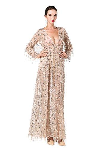 Maxi Gold Pailletten missord Damen Split Kleid Polyester Ausschnitt Langärmelige Zwei V Fv48vqwA7