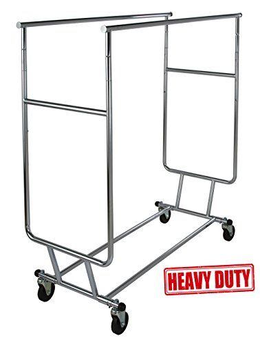 "Only Garment Racks Commercial Grade Double Rail Rolling Clothing Rack, Heavy Duty - Designed with Solid ""One Piece"" Top Rails and Base. Heavy Gauge Steel Construction, Rack Weighs 39 Lbs."
