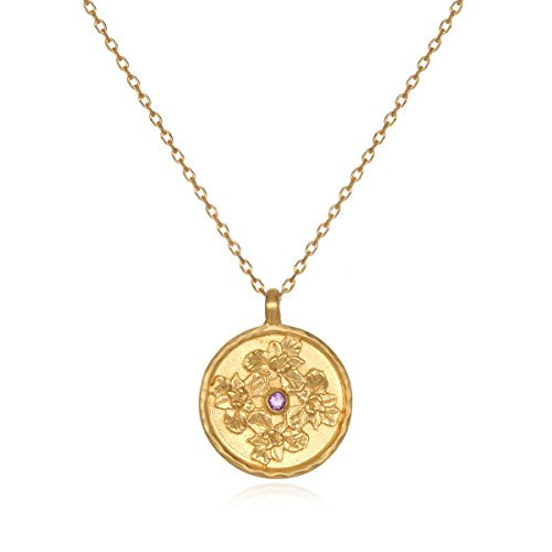 Satya Jewelry Amethyst Gold Plate Iris February Flower Birthstone (18-Inch) Pendant Necklace