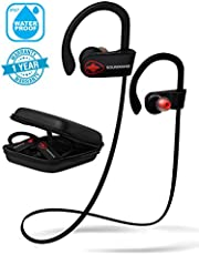 Wireless Earbuds in Ear Headphones. SoundWhiz Turbo Sweatproof Workout Earbuds with Microphone. Best Bluetooth Earbuds for Running, Sports, Gym, Exercise. Connects to Fitness Trackers & Smart Watches