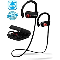 Wireless Bluetooth Running Headphones - SoundWhiz Turbo. IPX7 Sweatproof Workout Headphones w/Mic. HD Stereo Sport Earphones for iPhone, android, Garmin, Fitbit & Bluetooth MP3 Player Fitness Trackers
