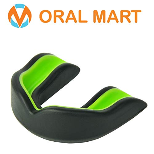 Oral Mart Black/Green Youth Mouthguard for Kids - Youth Mouthguard for Karate, Flag Football, Martial Arts, Taekwondo, Boxing, Football, Rugby, BJJ, Muay Thai, Soccer, Hockey (with Free ()