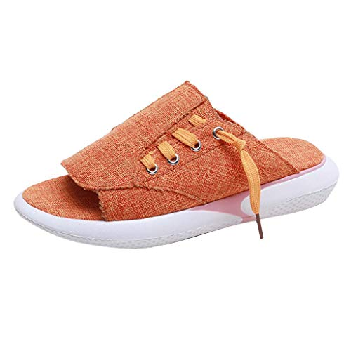 Canvas Laced Sandals,Claystyle Summer Casual Canvas Laced Sandals Breathable Open-Toed Slippers Women Shoes