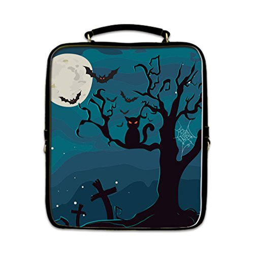 [JIUDUIDODO Custom Cool Halloween Evil Jack with Bat with PU Leather Square School Bag Outdoor Bag Backpacks Casual] (Halloween Cut Out Patterns For Pumpkins)