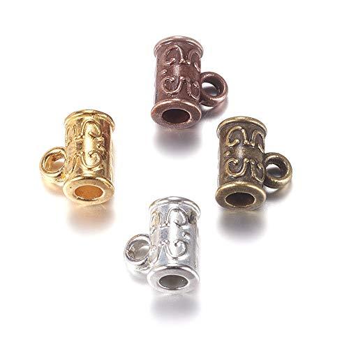FidgetGear Bail Beads Tiny Pendant Bails Charm Holder Mixed Color 100pcs Alloy Carved 6.5mm