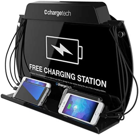 Chargetech Wall Mounted Cell Phone Charging Station Dock Hub High Speed Cables For All Devices Fully Customizable Cables Background Art Model Wm9