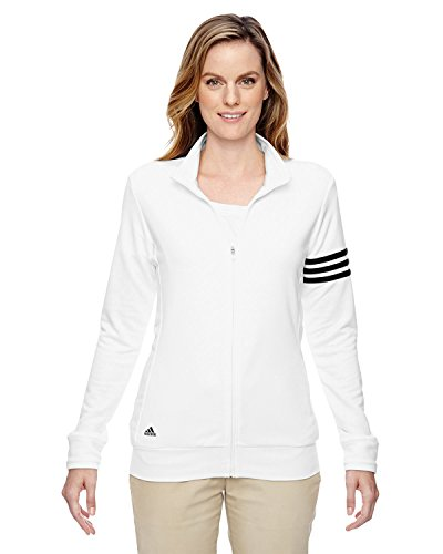Full Zip 3 Stripes (adidas Golf Ladies' climalite 3-Stripes Full-Zip Jacket, Large, WHITE/BLACK)
