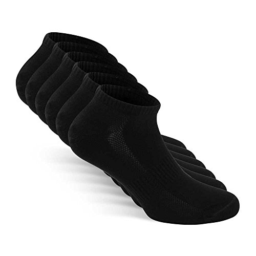 Snocks Mens Socks Ankle Men Black Low Cut Men's Cotton Athletic Size 9 10 11 12 by Snocks