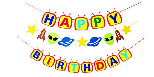 nvaders Theme Party Decorations-1 Happy Birthday Banner Sign,1 Spaceship Rocket Shutter Alien Planet Garland, Solar System Supplies and Favors for Kids Boys Girls Christmas Thanksgiving Bday Astronaut Room Decor ()