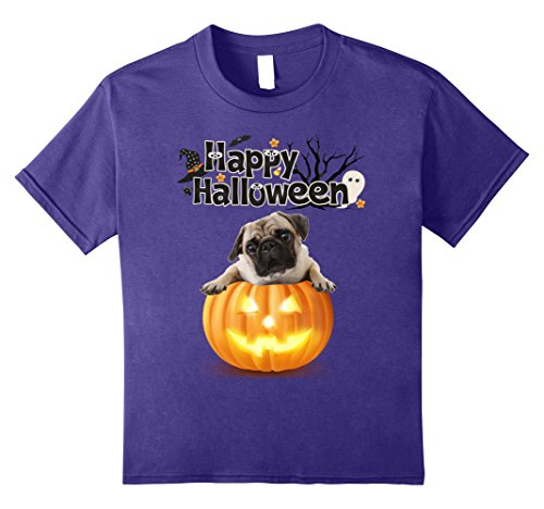 Happy Pug In Costume (Kids Happy Halloween Pug Shirts For Women Men 8 Purple)