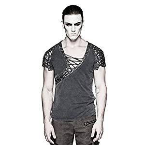 Steampunk Asymmetric Big Neck Men T Shirts Fine Cotton T-Shirts with Hollow Drawstring Casual Tops