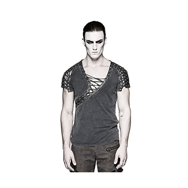 Steampunk Asymmetric Big Neck Men T Shirts Fine Cotton T-Shirts with Hollow Drawstring Casual Tops 3