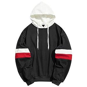 ZAFUL Men Fleece Pullover Color Block Boyfriend Hoodie Long Sleeve Drawstring Sweatshirt