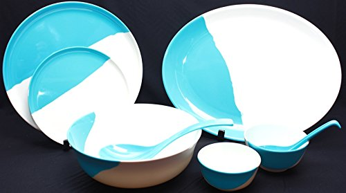 Buy HI LUXE 35PC MELAMINE Kitchen Dining Dinnerware Dinner set for Dining Gift TWO TONE - Blue Online at Low Prices in India - Amazon.in & Buy HI LUXE 35PC MELAMINE Kitchen Dining Dinnerware Dinner set for ...