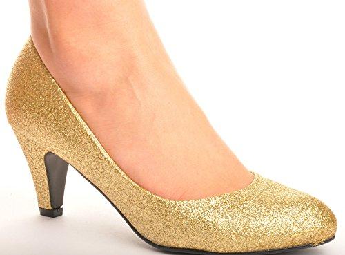 tacones Zapatos de medios dorados tacón de boda baile con alto de aIw0aqHxr