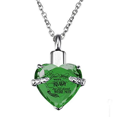 PREKIAR Heart Cremation Urn Necklace for Ashes Urn Jewelry Memorial Pendant with Fill Kit and Gift Box - Always on My Mind Forever in My Heart (Your Wings were Ready-Light Green)