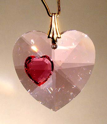J'Leen Enhanced 28mm Pink Ice Crystal Faceted Heart Prism