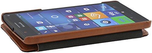 StilGut Book Type, Funda de piel auténtica con cierre Clip para el Microsoft Lumia 950 XL / 950 XL Dual SIM, Negro Cognac
