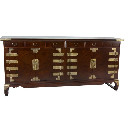 Oriental Furniture Korean Antique Style 8 Drawer Double Cabinet (Antique Walnut Sideboard)