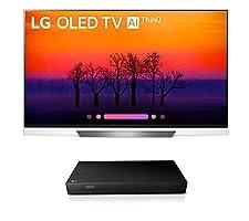 LG OLED55E8P OLED 4K Ultra High Definition AI Smart TV + UP870 4K UHD Blu-Ray Player