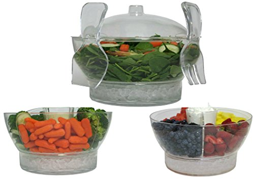 Large Clear Serving Bowl on Ice with Lid Cover and Tongs Set – Perfect for Salad Fruit Vegetable Trays Chips and Salsa Shrimp Cocktail Punch Seafood Platter – Big Plastic Party or Holiday Server