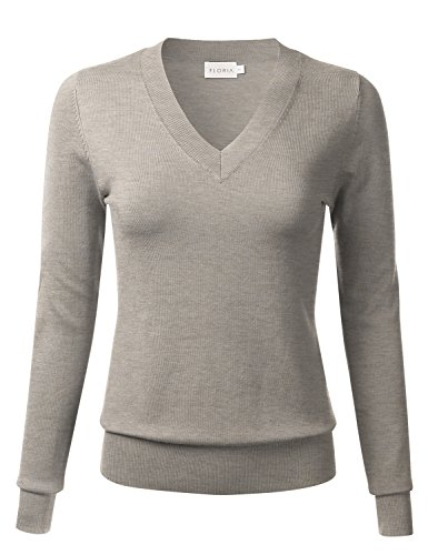 Thick Camel (FLORIA Womens Soft Basic Thick V-Neck Pullover Long Sleeve Knit Sweater Camel XL)