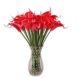Sevem-D New 30Pcs Decorative Flowers Calla Lily Pu Real Touch Artificial Flower Home Decoration Table Flowers 32