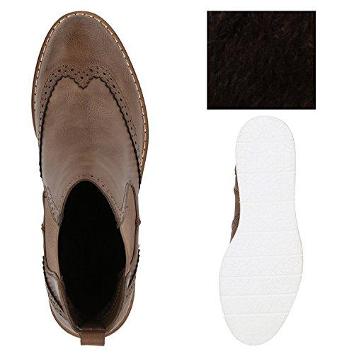 Stiefelparadies Damen Chelsea Boots Leicht Gefütterte Stiefeletten Wedges Plateau Vorne Keilabsatz Schuhe Knöchelhohe Stiefel Profil Flandell Khaki Amares