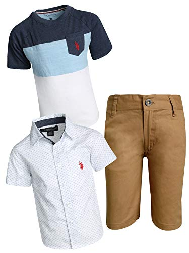 U.S. Polo Assn. Boys' 3-Piece Short Set with Collared Shirt and Fashion T-Shirt, Khaki/Headphones, Size 6'