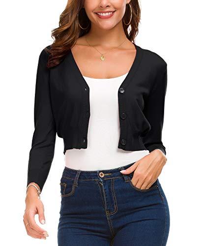 (EXCHIC Women's Fashion Short Cardigan Button Down Knitted Coat V-Neck Shrug Trendy Bolero (S, Black))