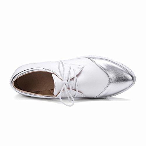 Latasa Mujeres Pointed Toe Lace Up Flats Zapatos Skate Zapatos Blanco (color Principal)