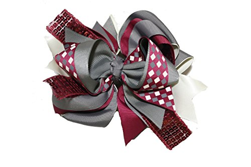Chicky Chicky Bling Bling Large Sequin Boutique Hair Bow maroon and grey checkerboard