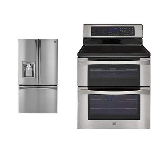Electric French Door Refrigerator - Kenmore Elite 28.7 cu. ft. French Door Bottom-Mount Refrigerator and Kenmore Elite 6.7 cu. ft. Self Clean Electric Double Oven Range bundle, both in Stainless Steel, includes delivery and hookup