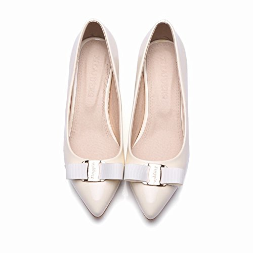Pied De Charme Femmes Arc Bout Pointu Chunky Talons Pompes Chaussures Beige