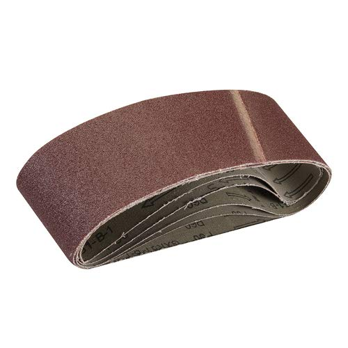 Overlap Joint with Extra top-Skive for Reduced Chatter Paint for Sanding Wood Sanding Belts 75mm x 533mm 5pk 60 Grit Aluminium Oxide Abrasive Grain Resin Bonded to X-Weight Backing Cloth Varnish.