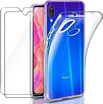 HongMan Funda para Xiaomi Redmi Note 7/Note 7 Pro+ [2 Unidades] Cristal Templado Protector de Pantalla, Ultra Fina Silicona Transparente TPU Carcasa Protector Airbag Anti-Choque Anti-arañazos Caso